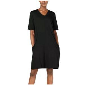Eileen Fisher organic cotton pocket black dress SP